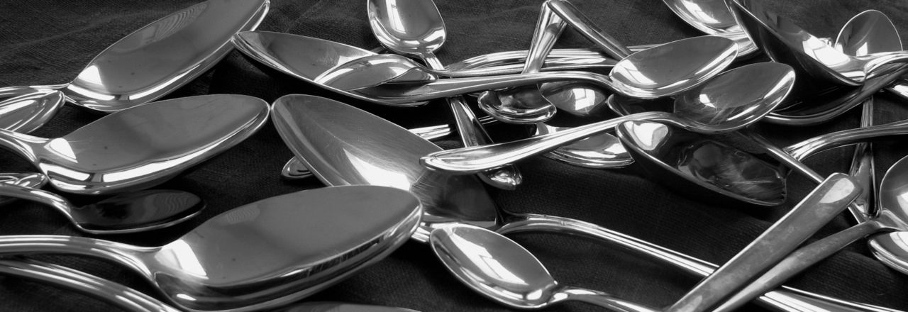 Spoons in black and white